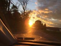 哈德森谷,多云纽约的日落 库存图片