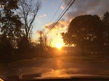 哈德森谷,多云纽约的日落 免版税库存照片