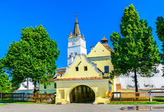 哈曼,布拉索夫被加强的教会在罗马尼亚 库存照片