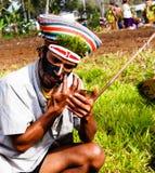 哈根山地方部落节日的参加者- 17 08 2014年,哈根山巴布亚新几内亚 免版税图库摄影