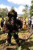 哈根山地方部落节日的参加者- 17 08 2014年,哈根山巴布亚新几内亚 免版税库存图片
