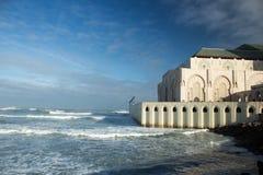 哈桑二世国王清真寺,卡萨布兰卡,摩洛哥部份看法  阿拉伯人,马格里布 库存照片