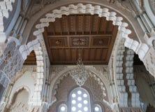 哈桑二世清真寺内部穹顶在卡萨布兰卡摩洛哥。 库存照片