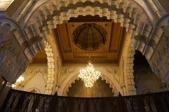 哈桑二世清真寺内部穹顶在卡萨布兰卡,摩洛哥。 库存图片