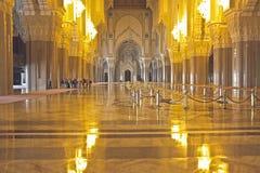哈桑二世清真寺卡萨布兰卡摩洛哥的内部 库存图片