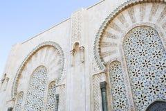 哈桑二世清真寺曲拱,卡萨布兰卡摩洛哥曲拱细节  库存图片
