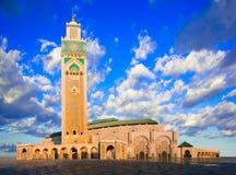 哈桑二世清真寺,卡萨布兰卡,摩洛哥:清早视图  库存图片