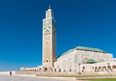 哈桑II清真寺卡萨布兰卡摩洛哥侧视图 免版税库存图片