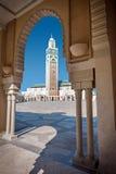 哈桑II清真寺尖塔卡萨布兰卡摩洛哥 库存照片