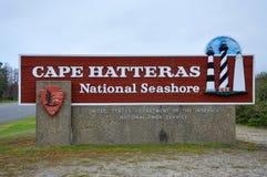 哈特拉斯角全国海滨, NC,美国的标志 免版税库存照片