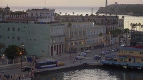 哈瓦那古巴固定式大角度建立的射击黄昏的 股票视频