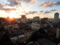 哈瓦那古巴日落 免版税库存图片