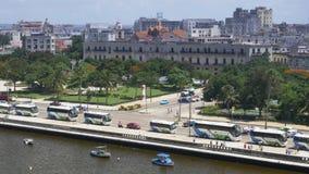 哈瓦那古巴海岸线天空中建立的射击  影视素材