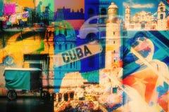 哈瓦那古巴图象拼贴画  免版税图库摄影