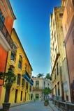 哈瓦那市五颜六色的门面  免版税图库摄影