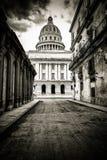哈瓦那的脏的黑白图象 免版税图库摄影
