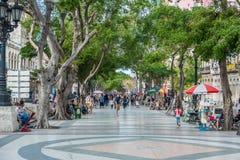 哈瓦那,古巴- 2017年10月22日:与一个的哈瓦那都市风景著名老镇街道 paseo del Prado 库存照片