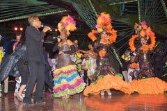 哈瓦那,古巴- 2018年1月04日:执行在Tropicana的舞蹈家 免版税库存照片