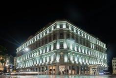 哈瓦那,古巴- 2017年10月24日:格兰特旅馆Manzana Kempinski旅馆在哈瓦那,古巴 海湾桥梁加州弗朗西斯科晚上圣时间 免版税图库摄影