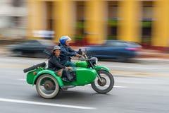 哈瓦那,古巴- 2017年10月21日:老摩托车在哈瓦那,古巴 免版税库存图片