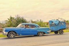 哈瓦那,古巴- 2018年1月03日:葡萄酒经典美国汽车ri 免版税图库摄影