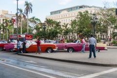 哈瓦那,古巴- 2017年10月20日:Cetral公园在哈瓦那,古巴 老车在背景中 免版税库存图片