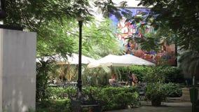 哈瓦那,古巴- 2011年12月23日:户外咖啡馆的人们 股票录像