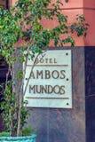 哈瓦那,古巴- 2012年4月2日:旅馆读经台Mundos标志 免版税库存图片