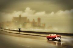 哈瓦那malecon在雨天 库存照片