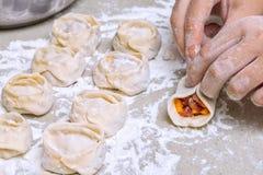 哈萨克人传统食物mants 免版税库存图片