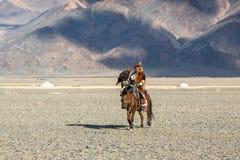 哈萨克人在传统衣物的老鹰猎人,在马背上,当寻找对拿着在他的胳膊的野兔一只鹫在沙漠mo时 库存图片