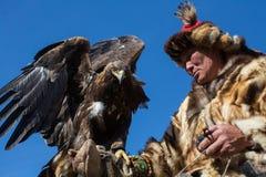 哈萨克人老鹰猎人传统衣物,当寻找对拿着在他的胳膊时的野兔一只鹫 免版税图库摄影