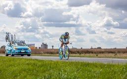 哈萨克人骑自行车者Vinokourov Alexandre 免版税图库摄影