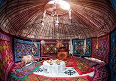 哈萨克人yurt内部 免版税库存照片