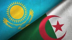 哈萨克斯坦和阿尔及利亚两旗子纺织品布料,织品纹理 向量例证