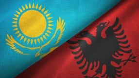 哈萨克斯坦和阿尔巴尼亚两旗子纺织品布料,织品纹理 皇族释放例证