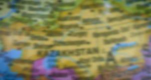 哈萨克斯坦在地球的国家地图 股票视频