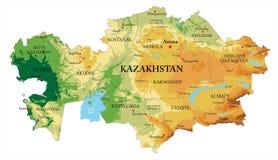 哈萨克斯坦地势图 库存图片