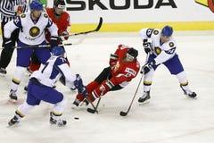 哈萨克斯坦对匈牙利IIHF世界冠军冰球比赛 免版税库存照片