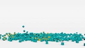 哈萨克斯坦旗子从3d立方体创造了在慢动作 股票录像