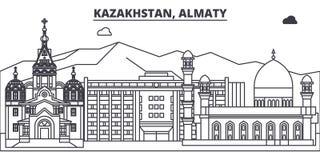 哈萨克斯坦,阿尔玛蒂线地平线传染媒介例证 与著名地标的哈萨克斯坦,阿尔玛蒂线性都市风景,城市 皇族释放例证