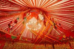 哈萨克斯坦Yurt内部  库存照片