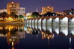 哈里斯堡宾夕法尼亚在晚上 免版税库存照片