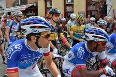哈雷,比利时的自行车赛发怒历史中心 库存照片