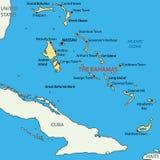 巴哈马共和国-地图 免版税图库摄影