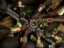 哈马尔部落-公牛跳的仪式 库存照片