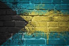 巴哈马的被绘的国旗在砖墙上的 免版税库存图片