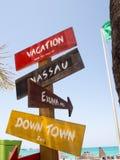 巴哈马距离标志假期地点 免版税库存图片