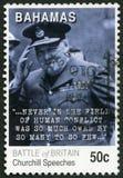 巴哈马- 2010年:展示温斯顿伦纳德Spencer Churchilll先生1874-1965,不列颠战役的第70周年 免版税库存照片