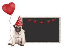 哈巴狗与红色党帽子的小狗,坐在空白的黑板标志旁边和拿着心形的气球,被隔绝在白色b 免版税库存图片